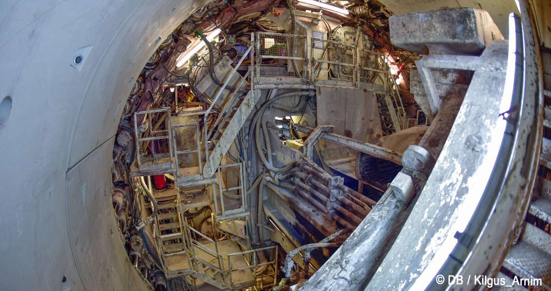 Internal view of the tunnel boring machine in the Filder Tunnel.